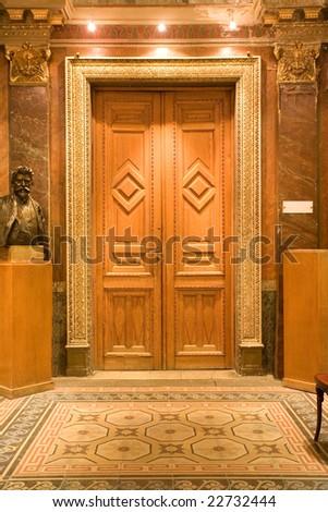 elegant wood door in the castle