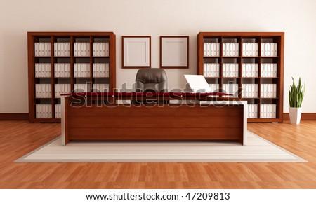 elegant wooden modern office,rendering - stock photo
