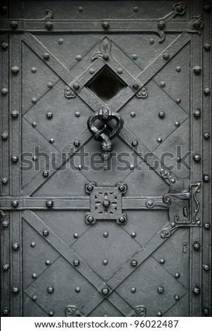 Elegant wrought iron hand made forged door, Prague, Czech Republic
