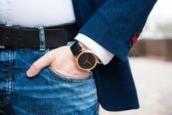 Elegant young business man's hand with fashion no brand wrist wa