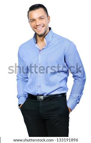Elegant young handsome smiling man portrait