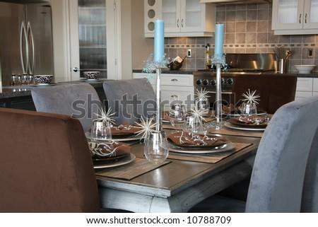 Elegantly set dinner table.