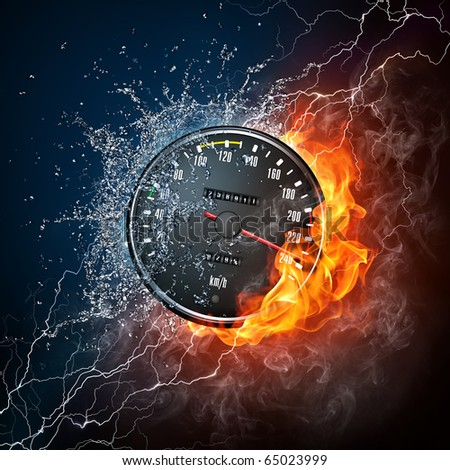 Element car speedometer. Illustration of the speedometer enveloped in flame and water isolated on black background. High resolution speedometer in fire and water image for a car race poster.