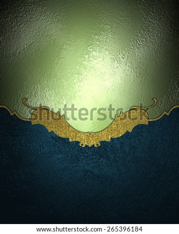 Element for design. Template for design. Abstract green texture with blue element design with gold ornaments