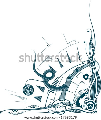 Element of fantastic cyber machine, stricken by virus. - stock photo