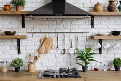 Element of kitchen appliance in apartment with modern interior, gas stove, cooking hood, kitchenware supplies and green houseplant decor
