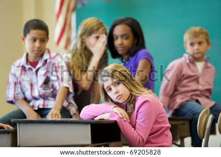stock photo : Elementary Age Bullying in Classroom