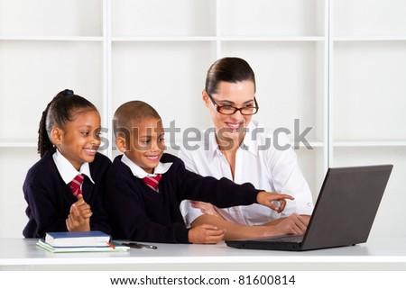 elementary computer class - stock photo