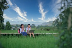Elementary school children Asians living in rural areas and rural schools of Thailand Primary school children are studying online using their laptop to view materials.