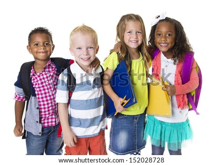 Elementary School Kids Group Isolated #152028728
