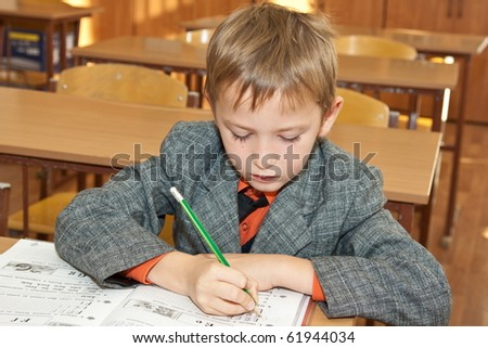 Elementary school. Schoolboy at a lesson