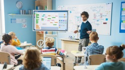 Elementary School Science Teacher Uses Interactive Digital Whiteboard to Show Classroom Full of Children how Software Programming works for Robotics. Science Class, Curious Kids Listening Attentively