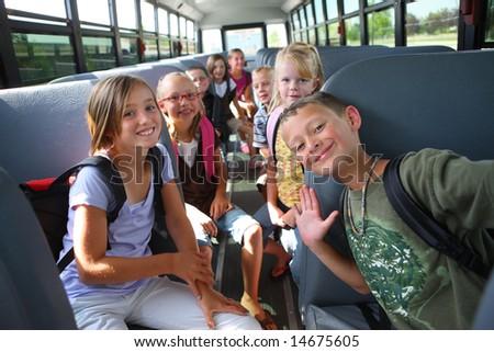 Elementary school students on school bus