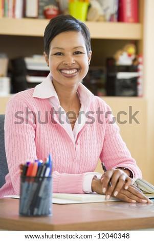 Elementary school teacher in office
