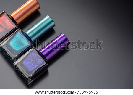 Elements makeup of women, composed of Nail Polish, brushes and powders for the face #753995935