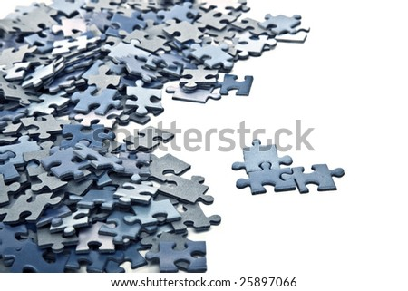 elements of a blue puzzle isolated over a white background