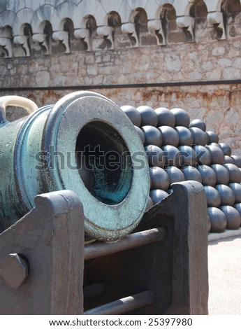 Elements of antique cannon and balls