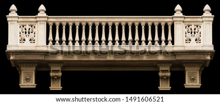 Elements of architectural decoration of buildings, arches and colonnades, columns and capitals, patterns and stucco molding. On the streets in Barcelona, public places. #1491606521