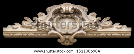 Elements of architectural decoration of buildings, stucco moldings, stucco wall texture, patterns and statues. On the streets in Catalonia, public places. #1511086904