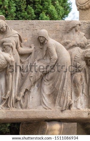 Elements of architectural decoration of buildings, stucco moldings, stucco wall texture, patterns and statues. On the streets in Catalonia, public places. #1511086934