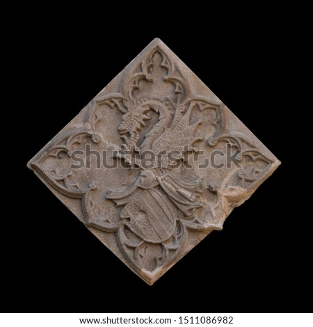 Elements of architectural decoration of buildings, stucco moldings, stucco wall texture, patterns and statues. On the streets in Catalonia, public places. #1511086982