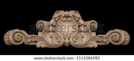 Elements of architectural decoration of buildings, stucco moldings, stucco wall texture, patterns and statues. On the streets in Catalonia, public places. #1511086985