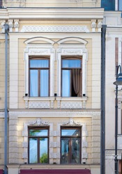 Elements of architectural decoration of buildings, windows and frames, arches and balustrades, stucco molding. On the streets in Georgia, public places.