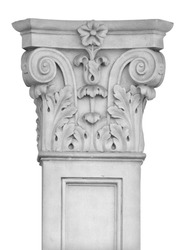 Elements of architectural decorations of buildings, columns, pommel and arches, plaster moldings, plaster patterns. On the streets in Spanish, public places. Black and white retro style photo.