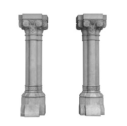 Elements of architectural decorations of buildings, columns, pommel and arches, plaster moldings, plaster patterns. On the streets in Barcelona, public places. Black and white retro style photo.