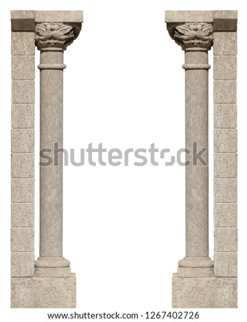 elements of architectural decorations of buildings, columns, pommel and patterns, on the streets in Catalonia, public places.