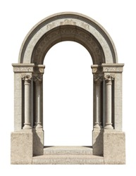 elements of architectural decorations of buildings, old doors with arches, gates with bars, on the streets in Catalonia, public places.