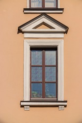 Elements of architecture of buildings, windows texture, arches, frames and niches. On the streets in Minsk, public places.