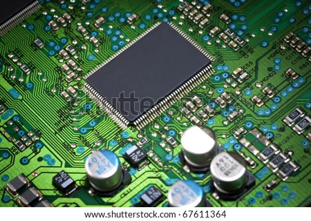 Elements of computer green motherboard