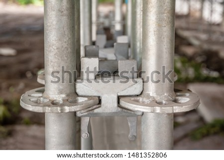 Elements of scaffolding as part of equipment for the reconstruction of the bridge