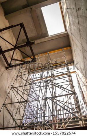 Elements of scaffolding on the reconstruction of the bridge