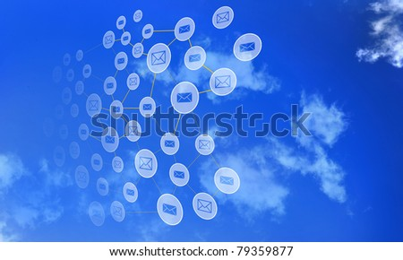 Elements of the social network against the sky. Signs and symbols combined into a single network.