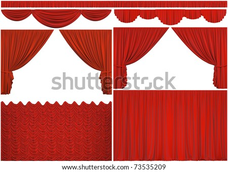 Elements of theatrical curtains isolated on a white background with clipping path.