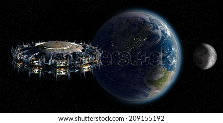 Elements of this image furnished by NASA. Alien mothership UFO nearing Earth, with the Moon rising and copy space for futuristic, space fantasy or interstellar travel cover images or backgrounds.