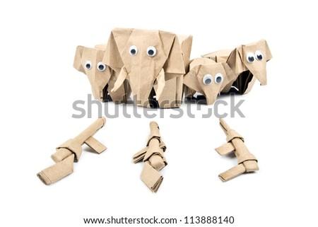 elephant and guns origami,stop kill elephant