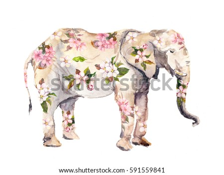 Elephant animal in flowers. Watercolor