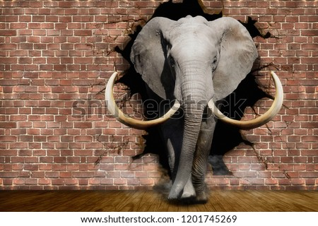 Elephant coming out of the walls. Wallpapers for walls. 3D illustration.