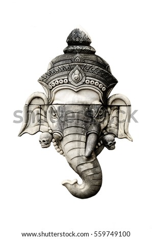 elephant head statue isolated...
