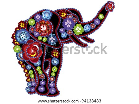 Elephant in Indian designs in the traditional style on a white background