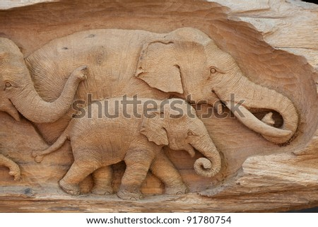 Elephant made from wood, Thailand