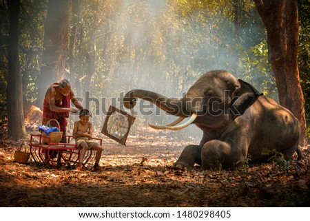 Elephant mahout portrait. Grandfather was cutting his nephew with an elephant holding a mirror. vintage style. The activities at Krapho, Tha Tum District, Surin, Thailand. #1480298405