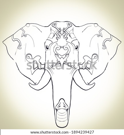 elephant mandala illustration drawing for coloring pattern Stock fotó ©