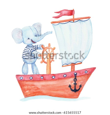 Elephant on a ship. Watercolor illustration on white background.