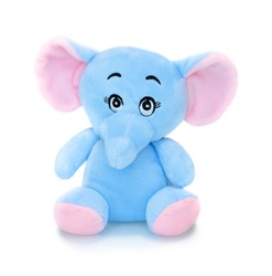 Elephant plushie doll isolated on white background with shadow reflection. Elephant plush stuffed puppet on white backdrop. Jumbo plushie toy. Colored stuffed elephant toy. Blue and pink elephant.