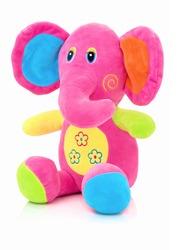 Elephant plushie doll isolated on white background with shadow reflection. Elephant plush stuffed puppet on white backdrop. Jumbo plushie toy. Rainbow colored stuffed elephant toy. Pinky elephant.
