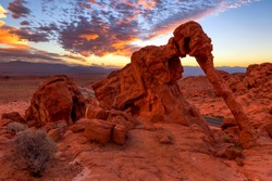 Elephant Rock in Valley of Fire State Park, USA. Valley of Fire State Park is the oldest state park in Nevada, USA and was designated as a National Natural Landmark in 1968.